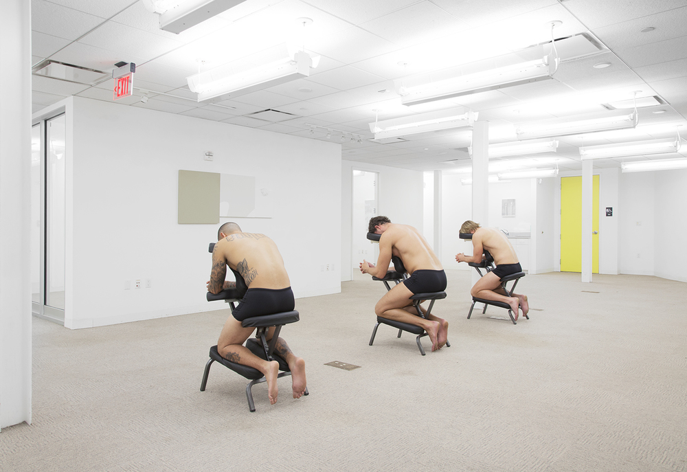 ALEX PERWEILER / ZACHARY SUSSKIND  On Relief (Santana/Cristian/  Stanislav, South Florida)  , 2013  Men on massage chairs  Dimensions variable