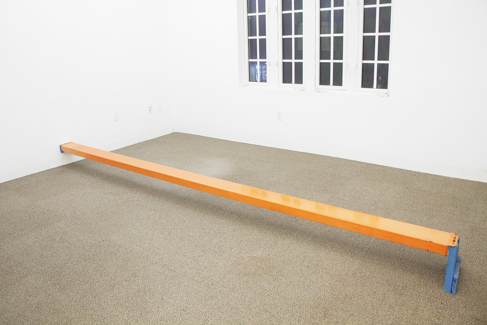 ZACHARY SUSSKIND  Heavy Line  , 2012   Powder coated steel, enamel, wood   148 x 11 1/2 x 9 1/4 inches