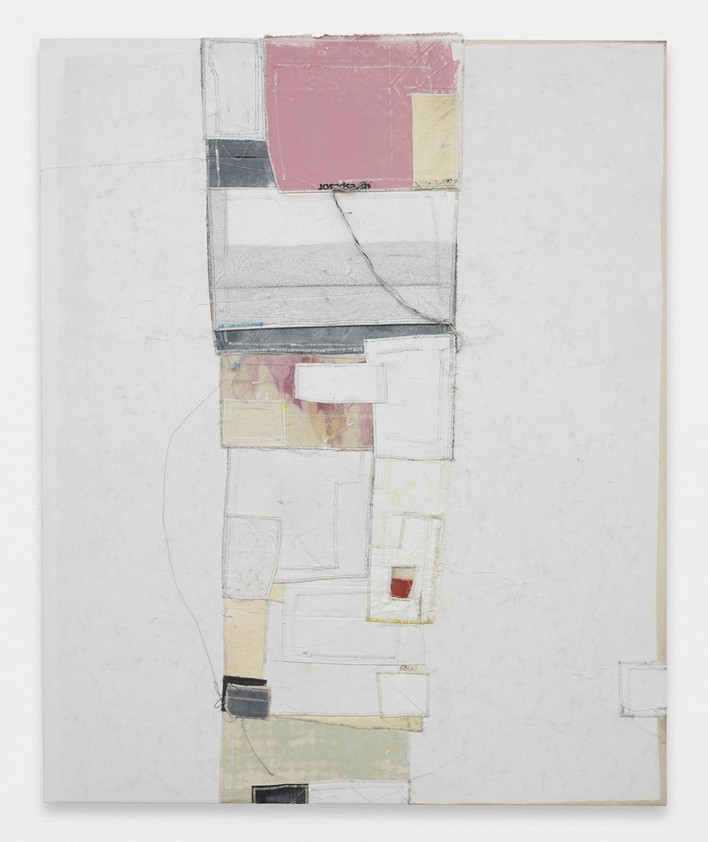JACK GREER Frank, 2013 Canvas, thread, enamel and latex 54 x 44 inches