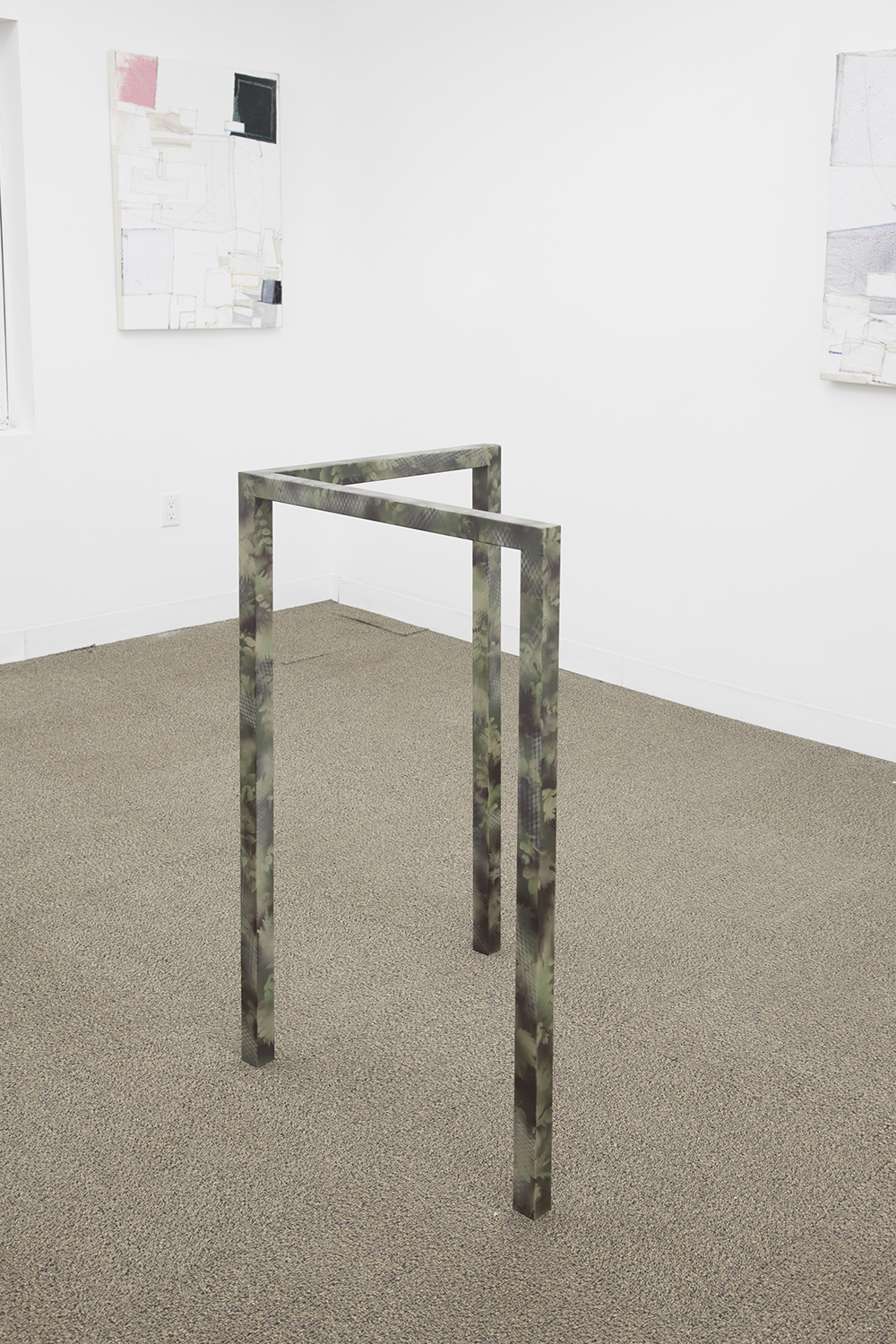 JOE GRAHAM-FELSEN  Camouflage (tri)  , 2013   Steel, spray enamel   23 x 40 x 23 inches