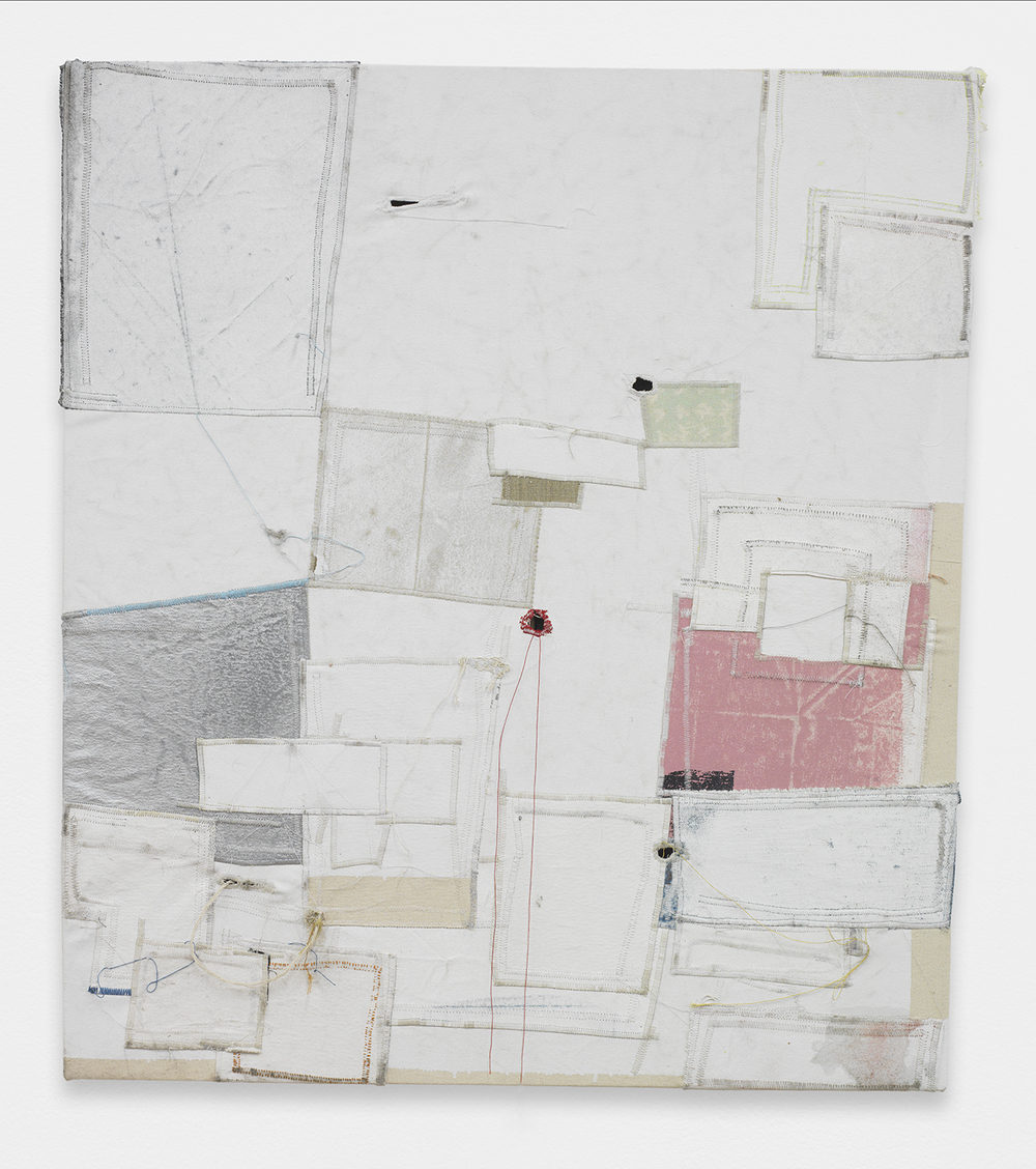 JACK GREER  Tim  , 2013   Canvas, thread, enamel and latex   34 x 30.5 inches