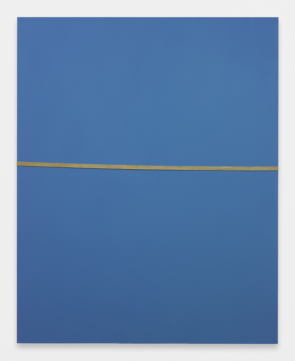 ALEX PERWEILER / ZACHARY SUSSKIND  Wet Tan Line  , 2013   Oil and industrial rubber band on canvas   60 x 48 inches