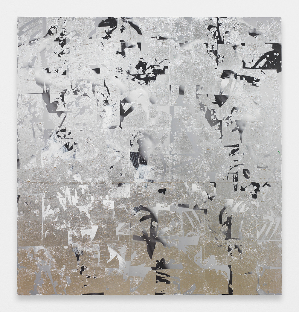 BRENDAN LYNCH  Man , 2013 Posters, paint and aluminum leaf on wood panel 57 x 60 inches