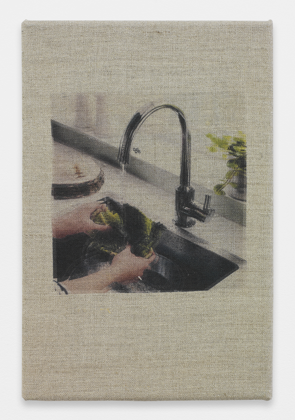 AUGUSTUS THOMPSON  Ikea (Washing Lettuce)  , 2013   Inkjet on linen   12 x 8 inches