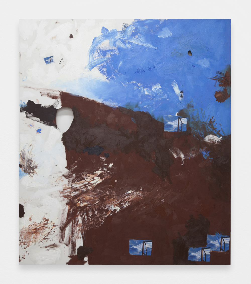BRENDAN LYNCH   Blueberry chocolate milk  2013  Oil and photographs on wood panel 72 x 64 inches