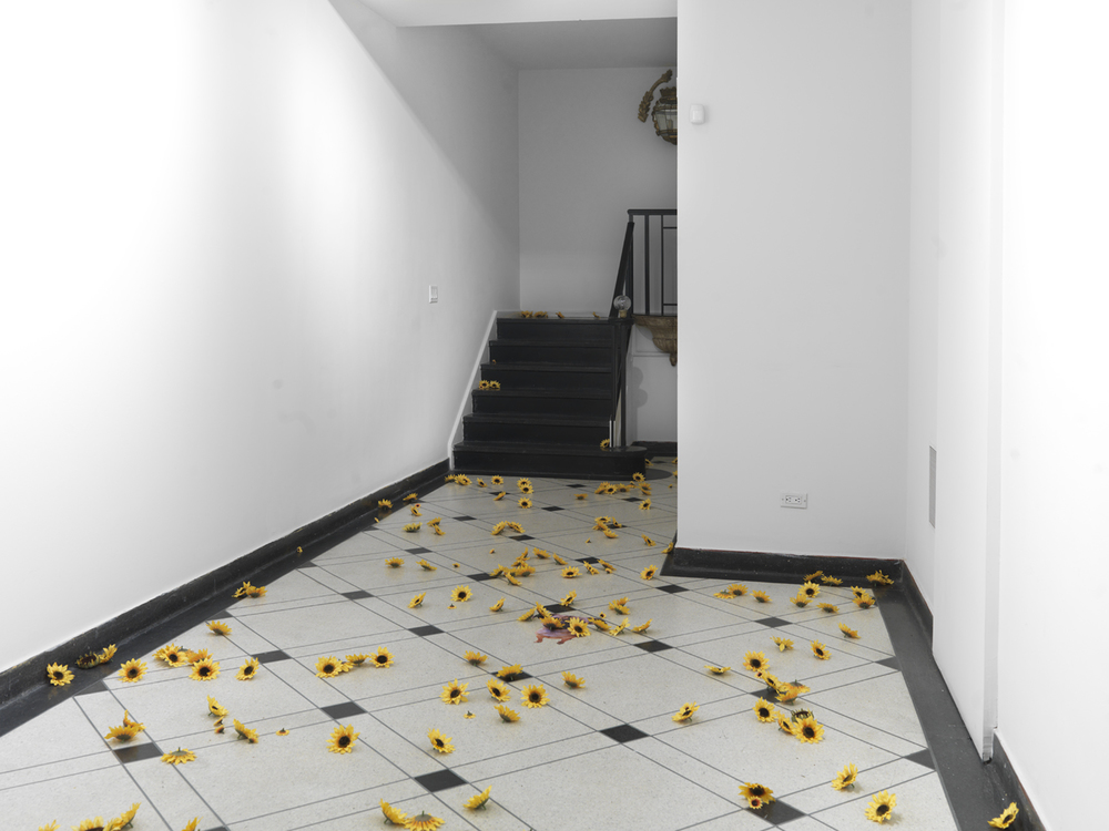9, 11 2014  Fake sunflowers and sticker  Dimensions variable
