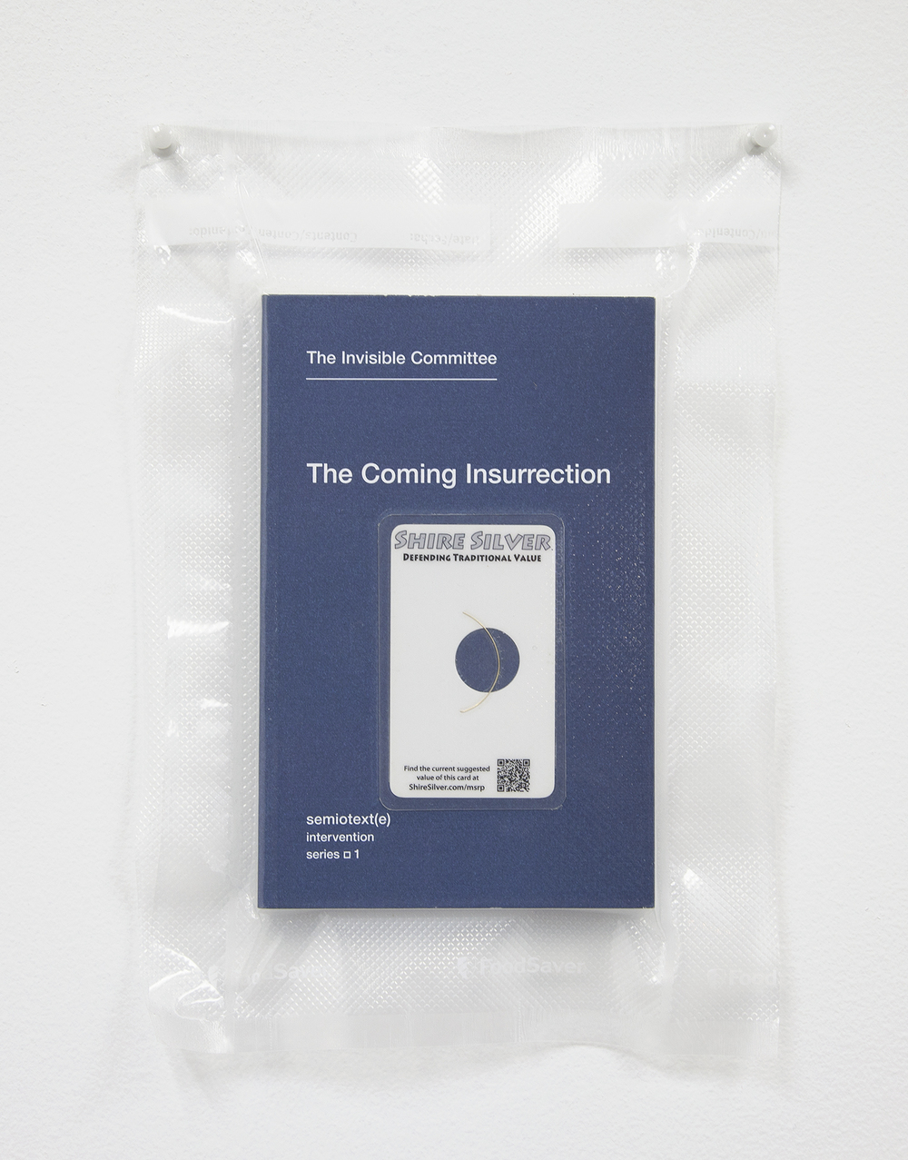 TSA No Fly List Vacuum Sealed Invisible Committee -'The Coming Insurrection' with $10 Shire Silver laminated car  , 2013    10 x 8 inches