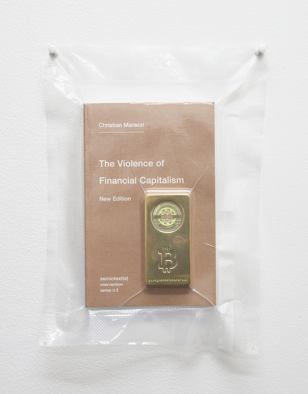 TSA No Fly List Vacuum Sealed Christian Marazzi -'the VIOLENCE of financial capitalism' with 100 BITCOIN gold plated bar  , 2013   10 x 8 inches