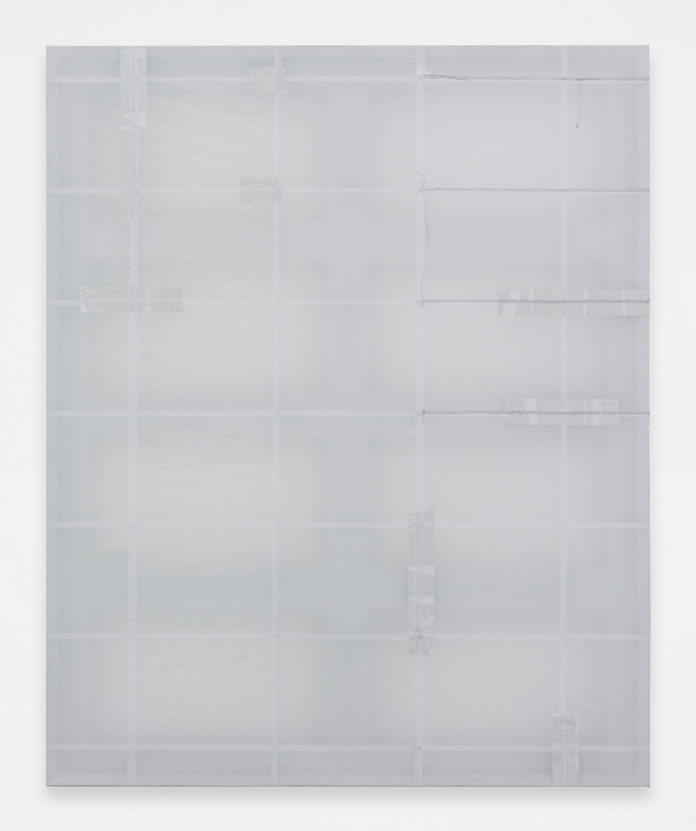 JACK GREER Phase 1: 10, 2014 Paper, tape and thread on wood stretcher 54 x 44 inches