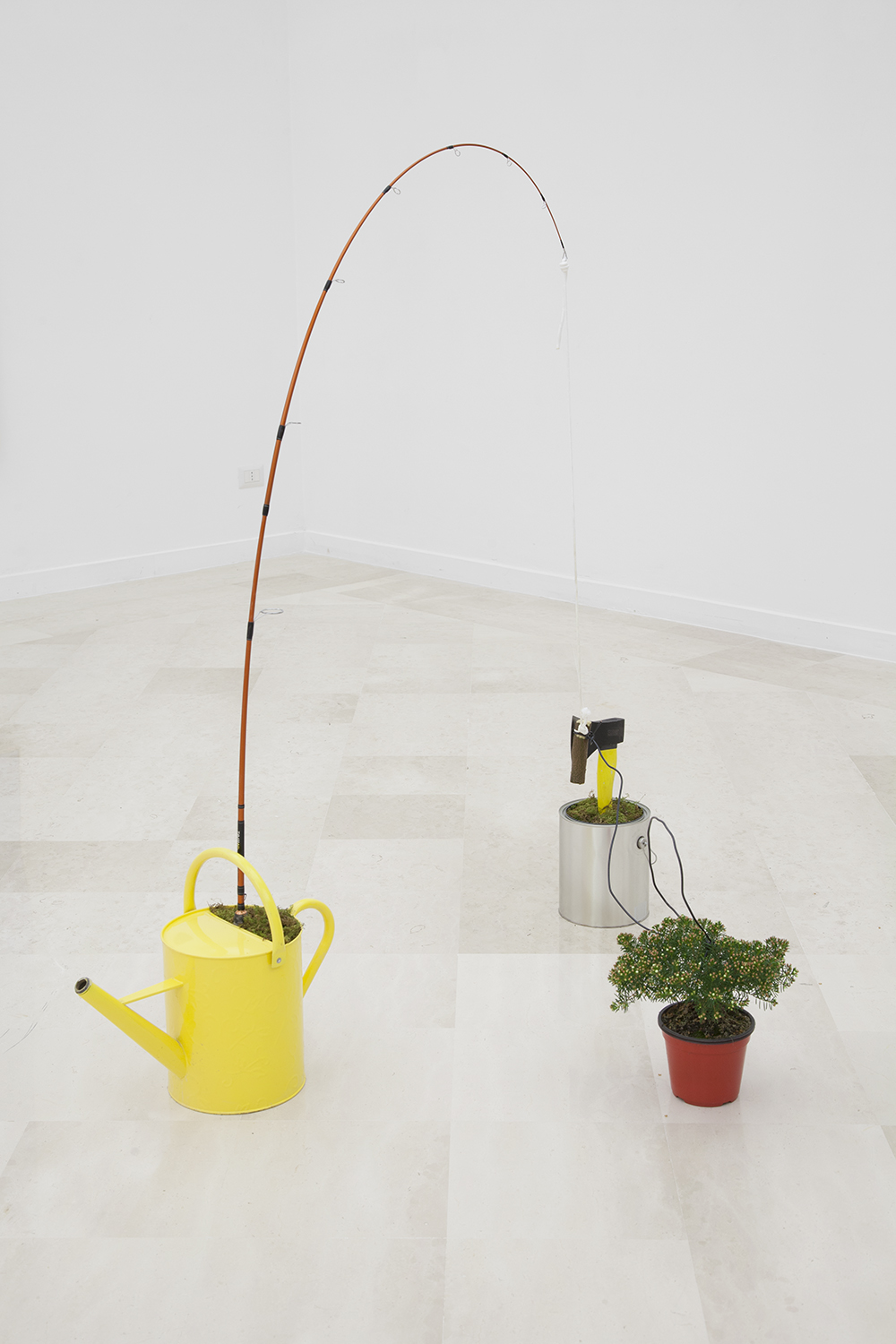 NICK DARMSTAEDTER  Devlin Adams, 2014  Fishing pole, watering pail, paint bucket, plant, hatchet, wood, moss and cord  33 x 55 x 24 inches