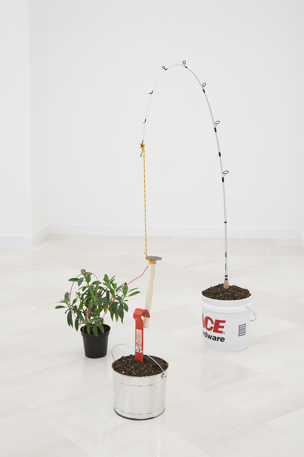 NICK DARMSTAEDTER  Valerie Veran, 2014  Fishing pole, buckets, plant, crowbar, tack hammer, dirt and cord  33 x 55 x 24 inches