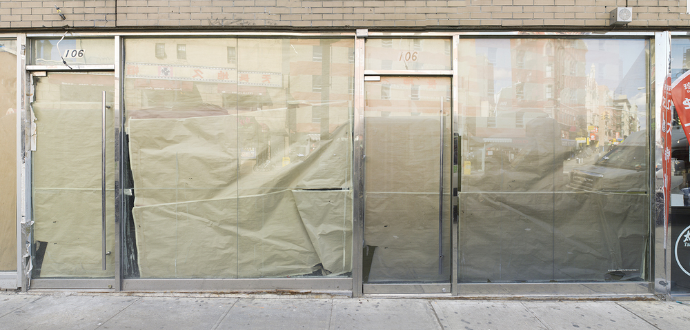 #106, 2014  UV curable ink on dibond mounted to storefront window  Dimensions variable