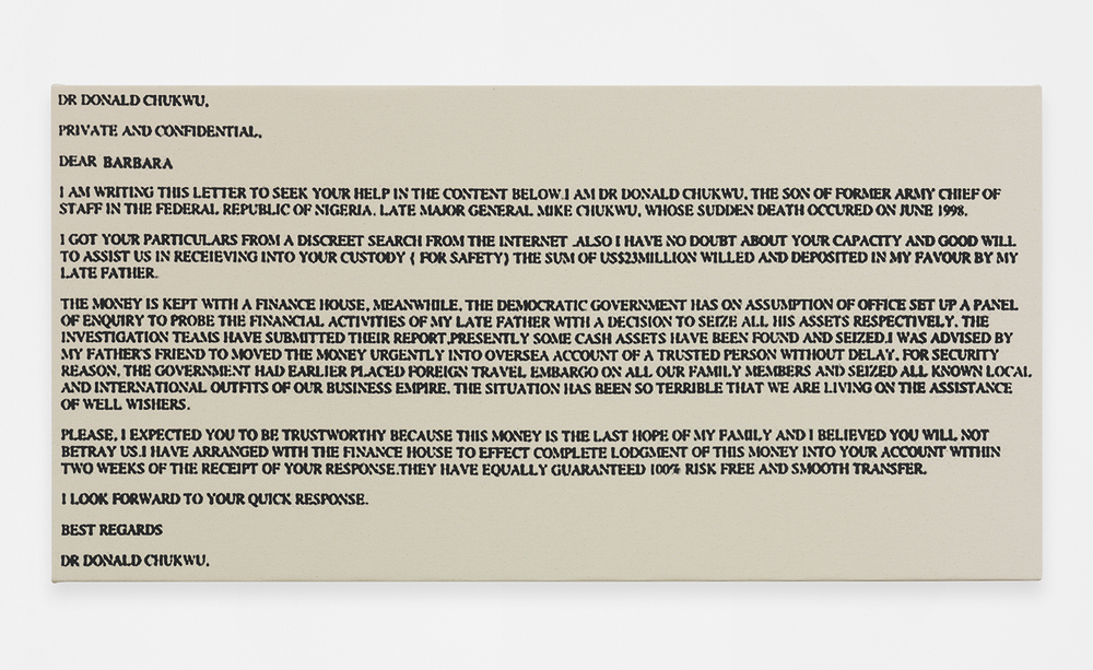 Scam Mail (Barbara), 2014 Silkscreen ink on canvas 24.02 x 48.03 inches