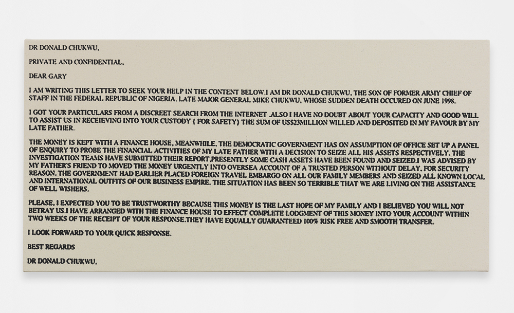 Scam Mail (Gary), 2014 Silkscreen ink on canvas 24.02 x 48.03 inches