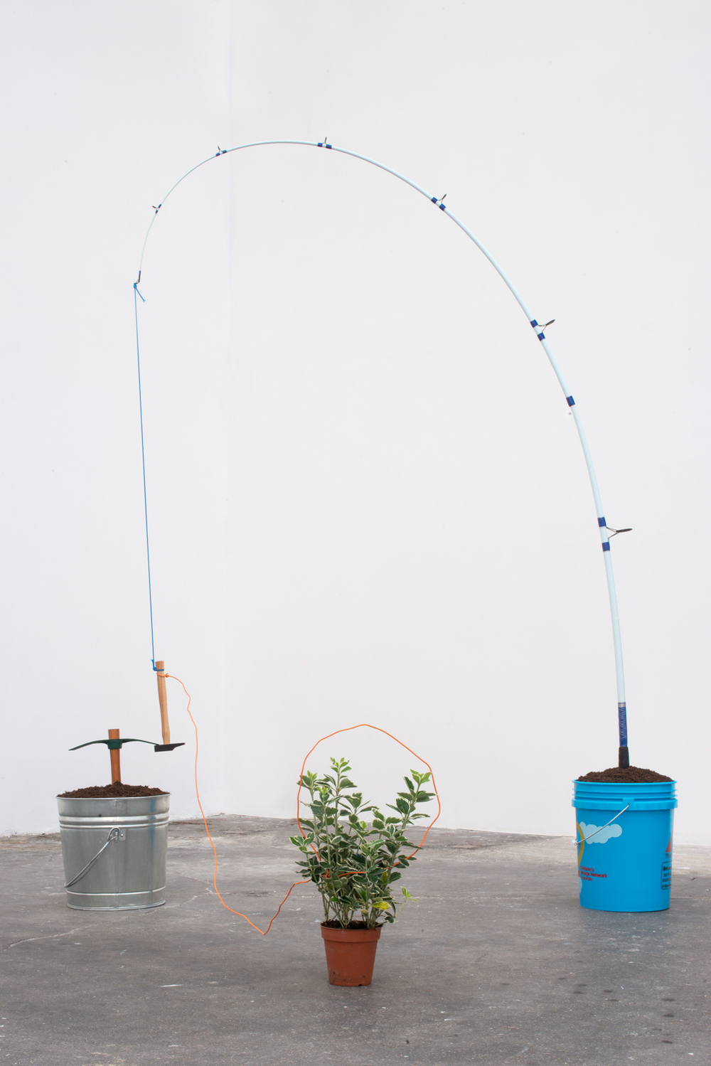 Trapaholic   ,   2014   Fishing pole, garden hoe, hammer, plant, chord, dirt, plastic and steel   Dimensions variable