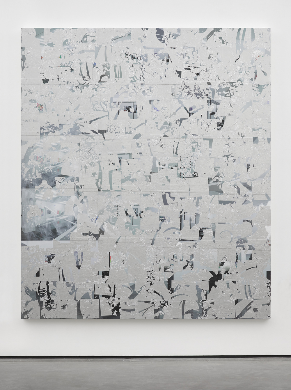 Thank You Eddie Peake  2014 Posters, paint and aluminium leaf on wood panel 84 x 72 inches