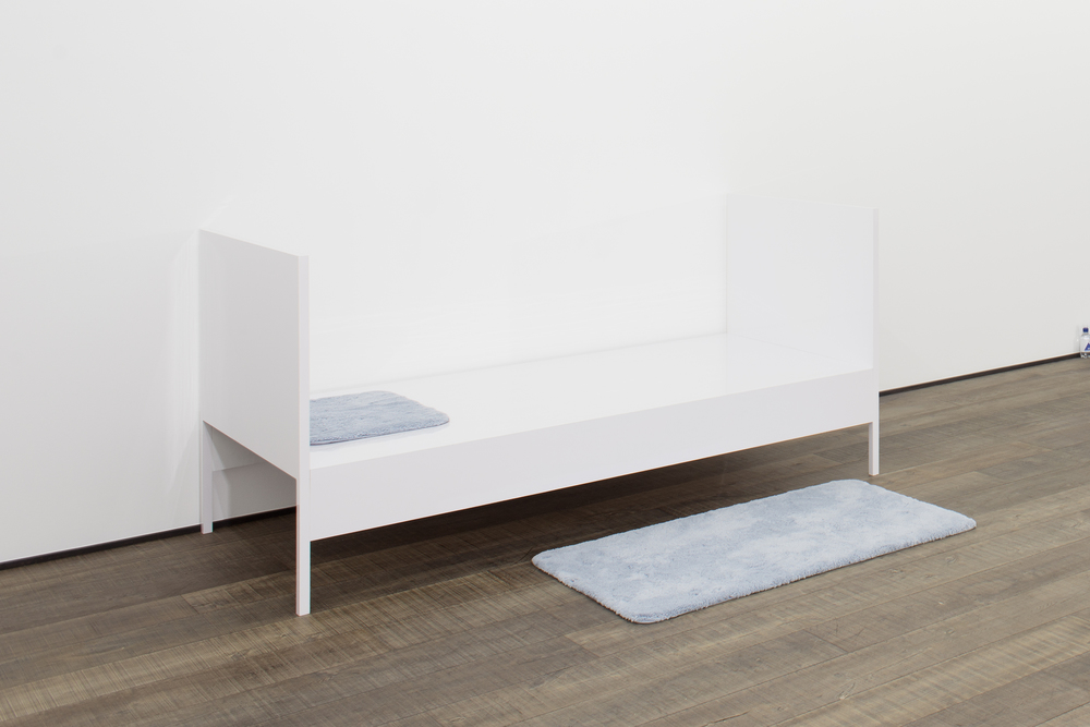 Altar for Pause and Refreshment  2014 High gloss laminate, wood, metal, two bath mats  42 x 77 x 16 inches