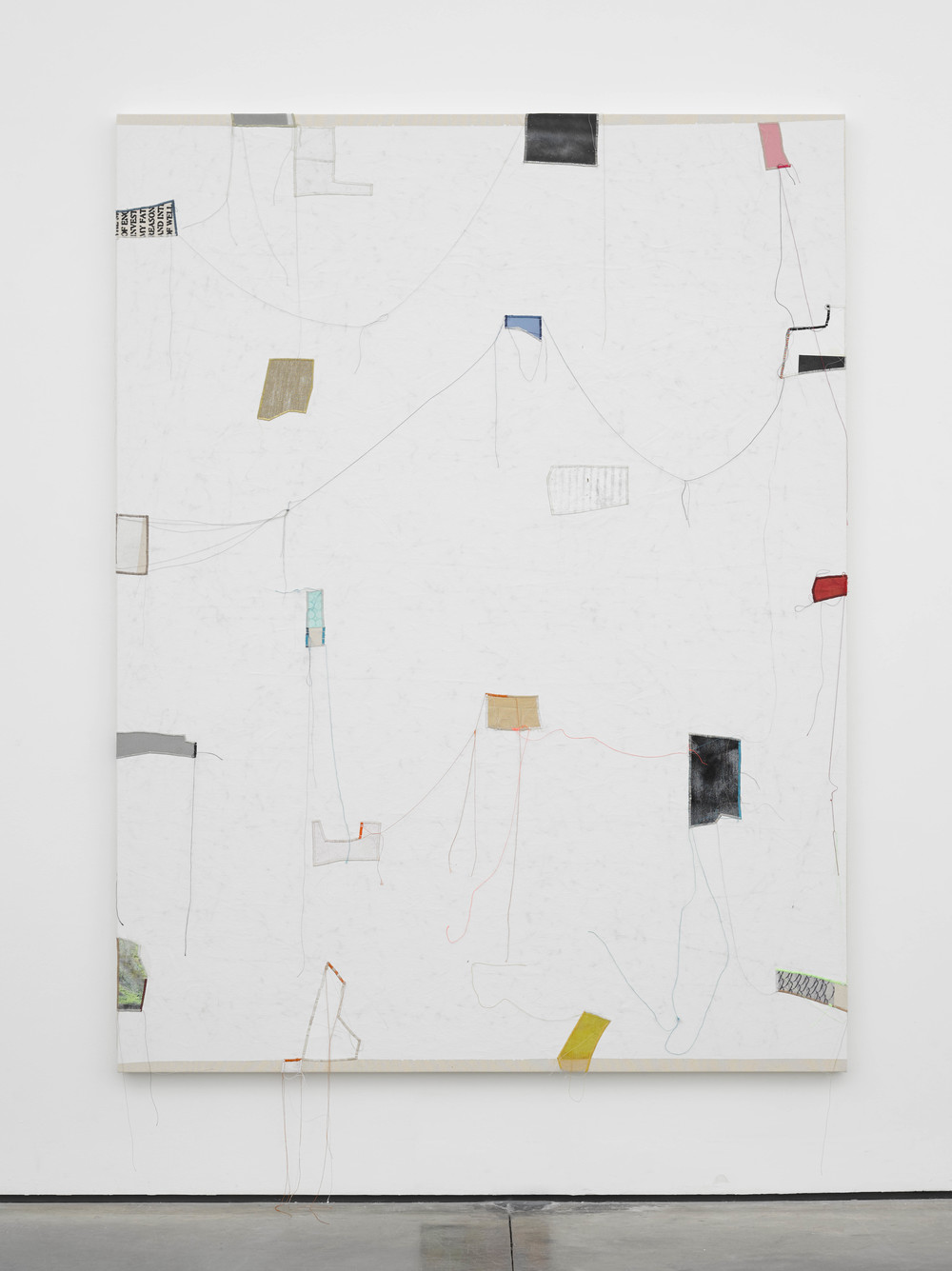 Finding Order: 8 2014 Canvas, thread, enamel and latex 84 x 64 inches