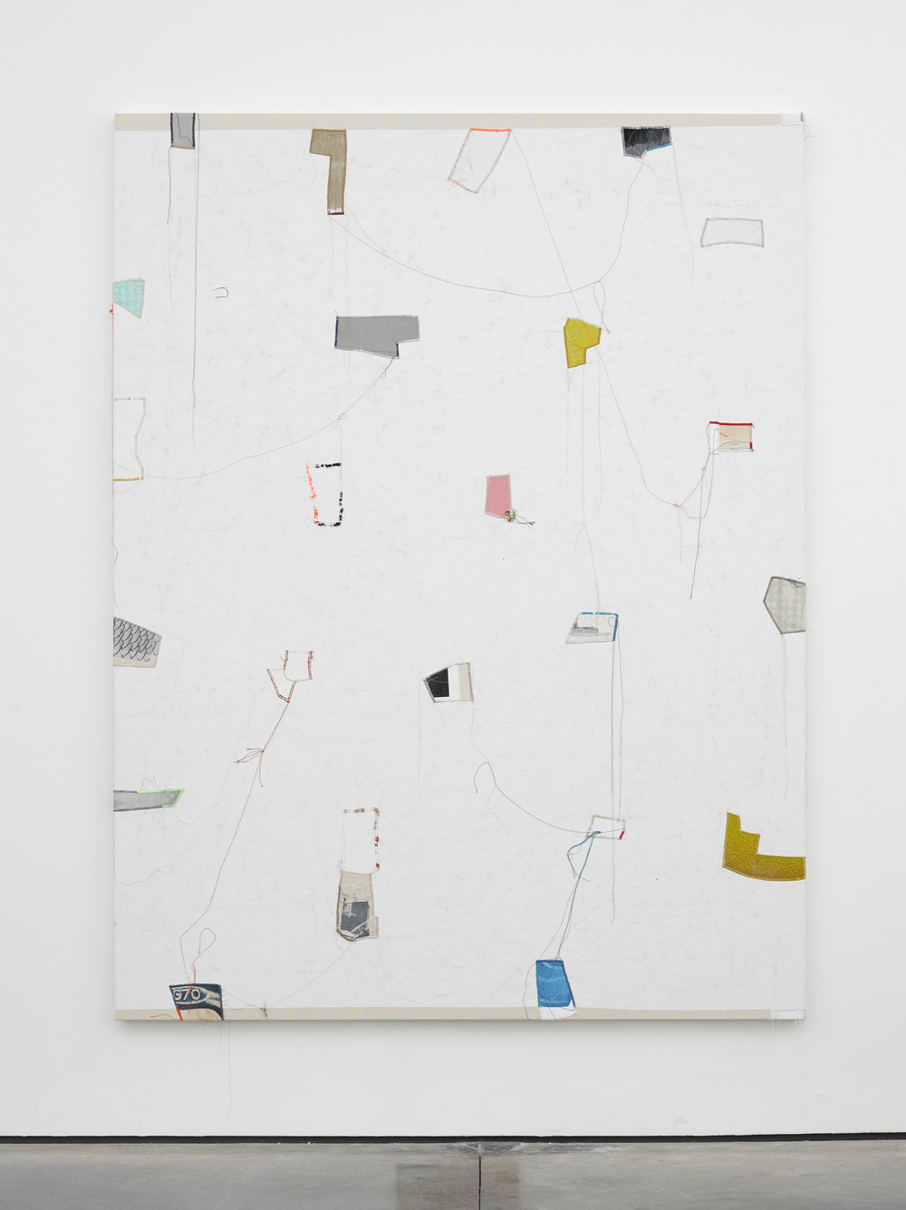 Finding Order: 9 2014 Canvas, thread, enamel and latex 84 x 64 inches