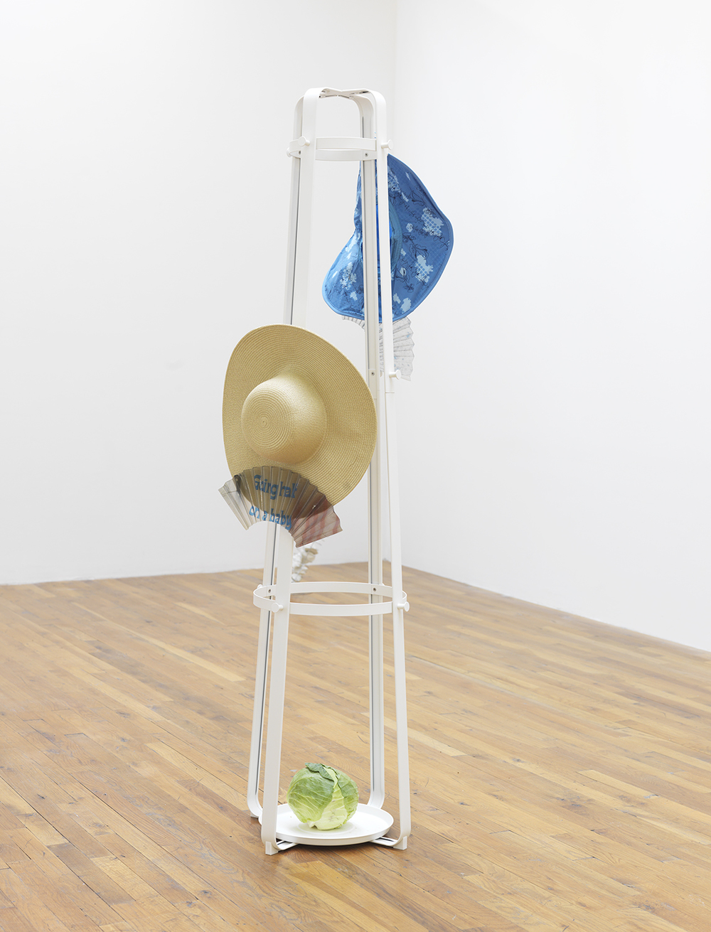 Amy Yao  Seasonal Ikebana Pop-Up Shop, No.1 (Husband From Hell!!!) , 2014 Metal, straw, cotton, resin, digital print and lettuce 67 x 24 x 24 inches