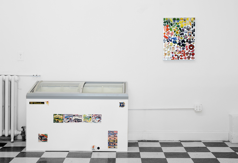 I'm   lookin  ' for the whole   thing!    2014    Steel panel, freezer, magnets, ice cream   60 x 51.5 x 26 inches