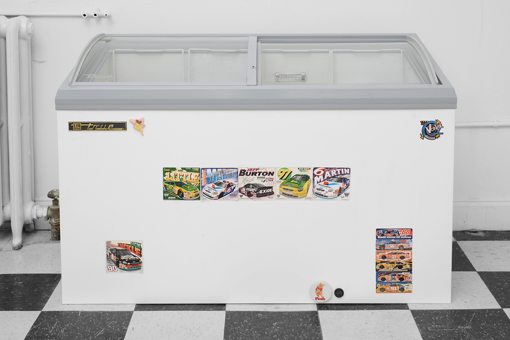 I'm lookin' for the whole thing! (detail) 2014  Steel panel, freezer, magnets, ice cream 60 x 51.5 x 26 inches