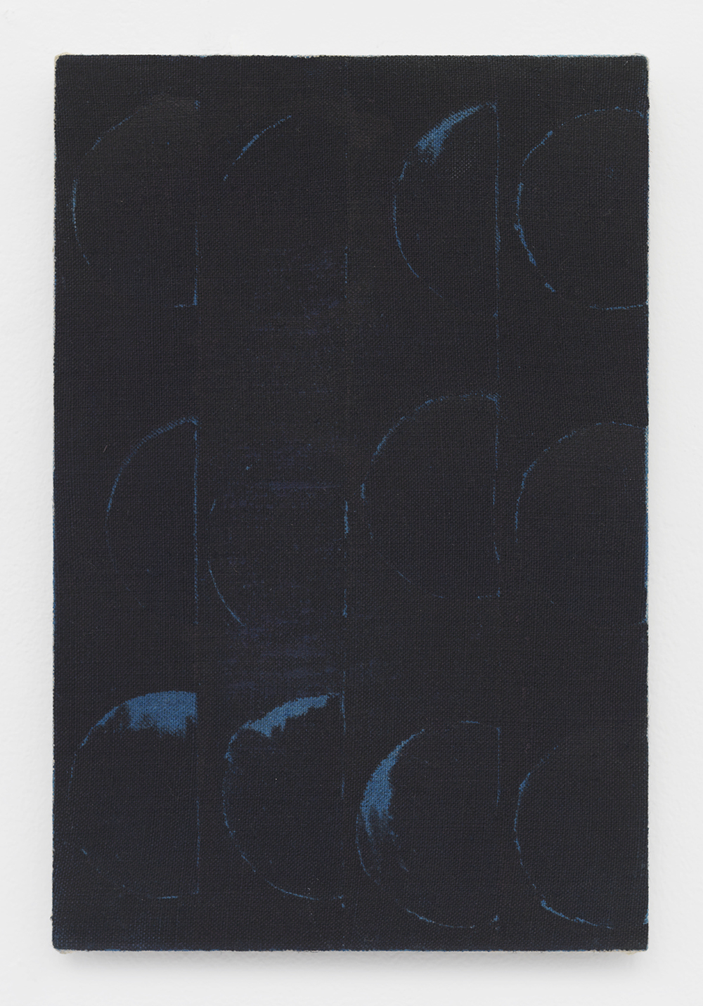 Negated Blue (Bean Can) 2014 Acrylic and India ink on linen 12 x 8 inches