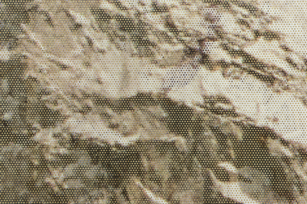 The Law of Reversed Effect (detail) 2014  Inkjet on perforated vinyl adhered to OSB, matter medium 96 x 149 inches