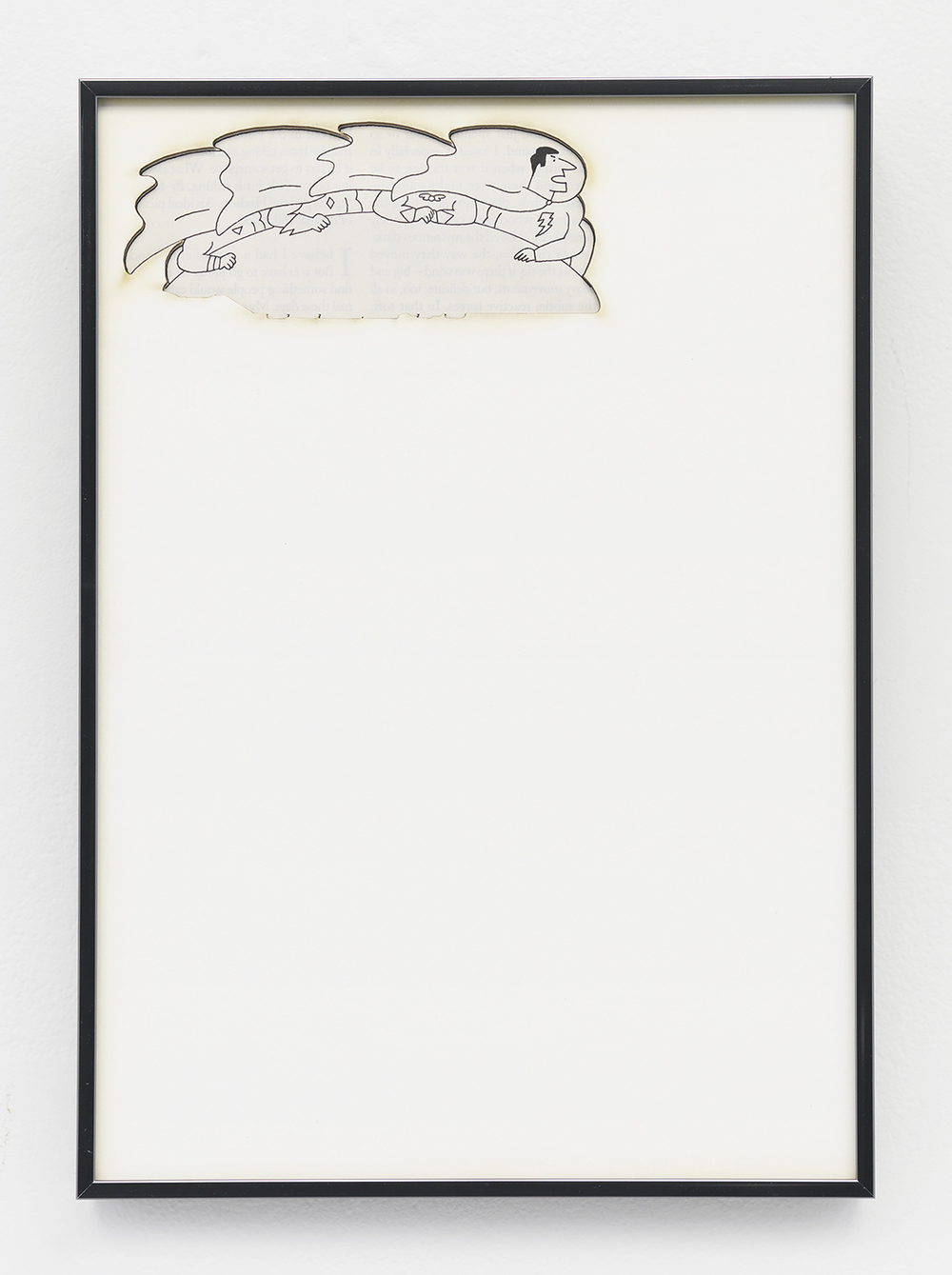 Artifact: Language Barrier (Johan Rudolf Huber)   2014   Cotton and paper in artist frame   11 x 8 inches