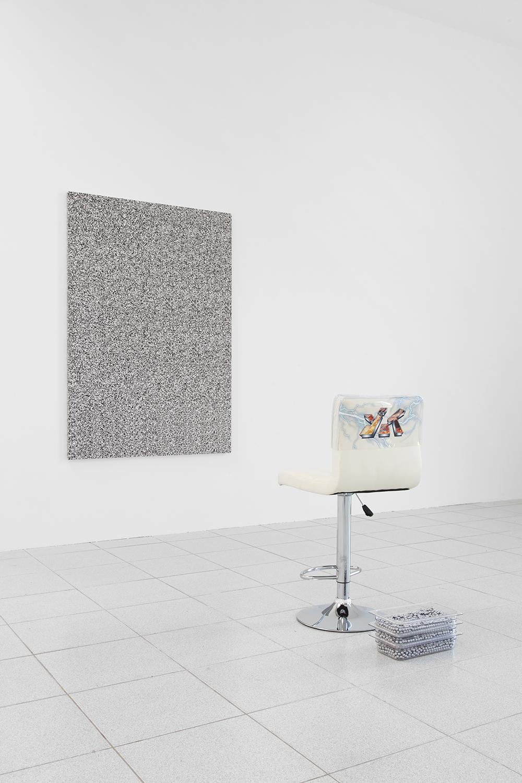 Alex Ito  Over and Over and Over and Over (Yes!) , 2015 Chair, pachinko balls, plastic and fabric 36 x 19 x 17 inches