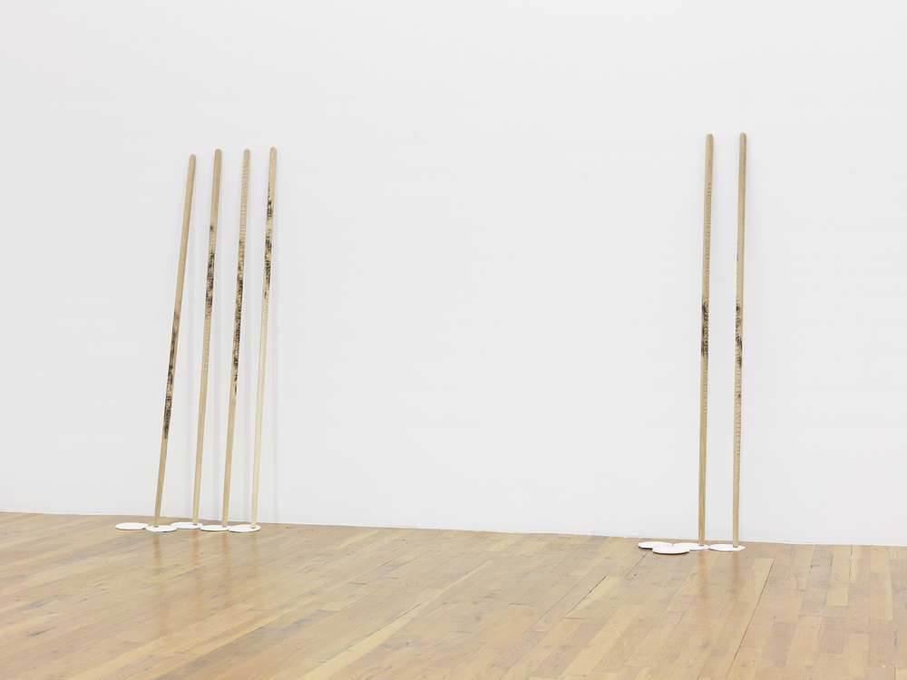 I'll still find my balance with one foot (728 things I regret burning in the fire), 2015 Engraved and seared octagonal walking sticks, gypsum Dimensions variable