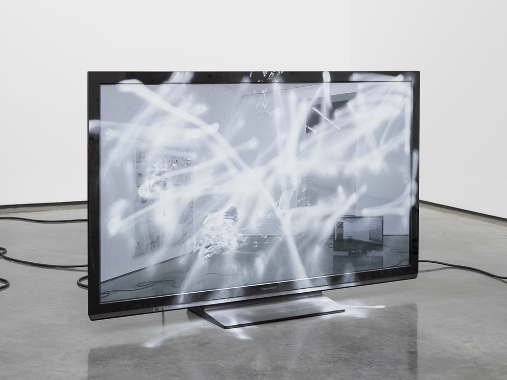 An Exhibition (One) , 2014 Video and spray paint on monitor 29 x 46 x 10 inches