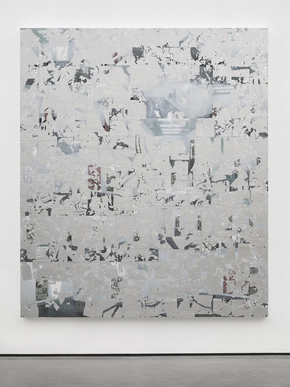Thank You Nikolas Gambaroff , 2014 Posters, paint and aluminium leaf on wood panel 84 x 72 inches