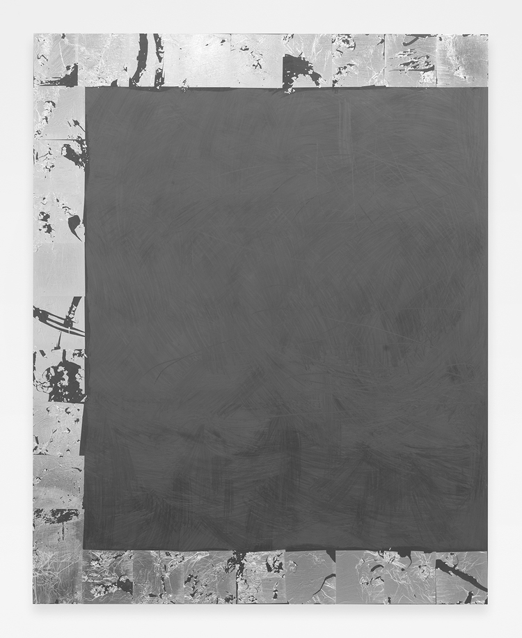 Sea Scape , 2014  Aluminum leaf and graphite on wood panel  60 x 48 inches