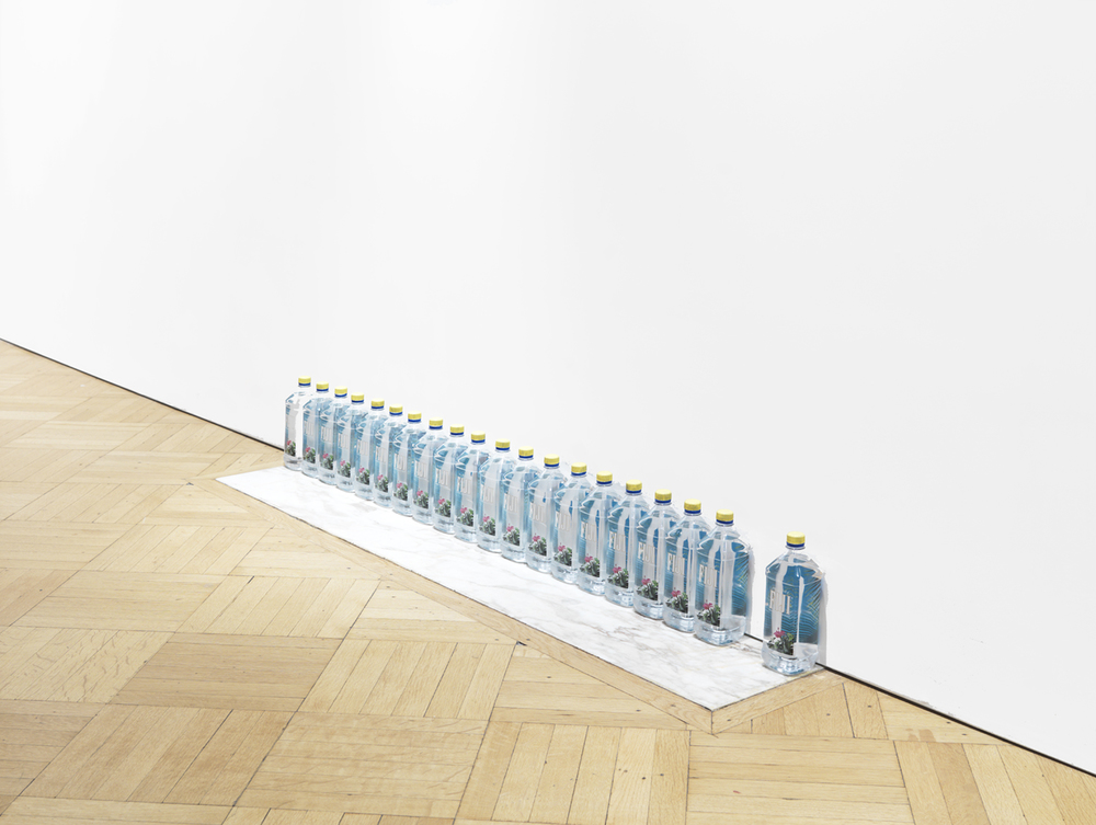 1, 11 , 2014 Fiji water bottles and paint Dimensions variable