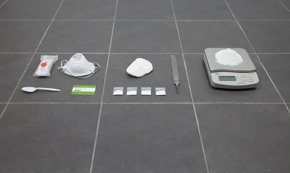 This Shit Right Here,  N****?!, 2013 Plastic baggies, dust mask, salvaged stone from Parthenon, metal file, digital scale, salvaged stone from Parthenon filed down to powder, four plastic baggies containing one gram of Parthenon powder, Metropolitan Museum membership card, plastic spoon   Dimensions variable