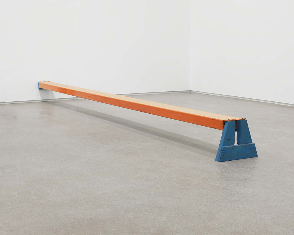 Heavy Line, 2012 Powder coated steel, enamel, wood 148 x 11 1/2 x 9 1/4 inches