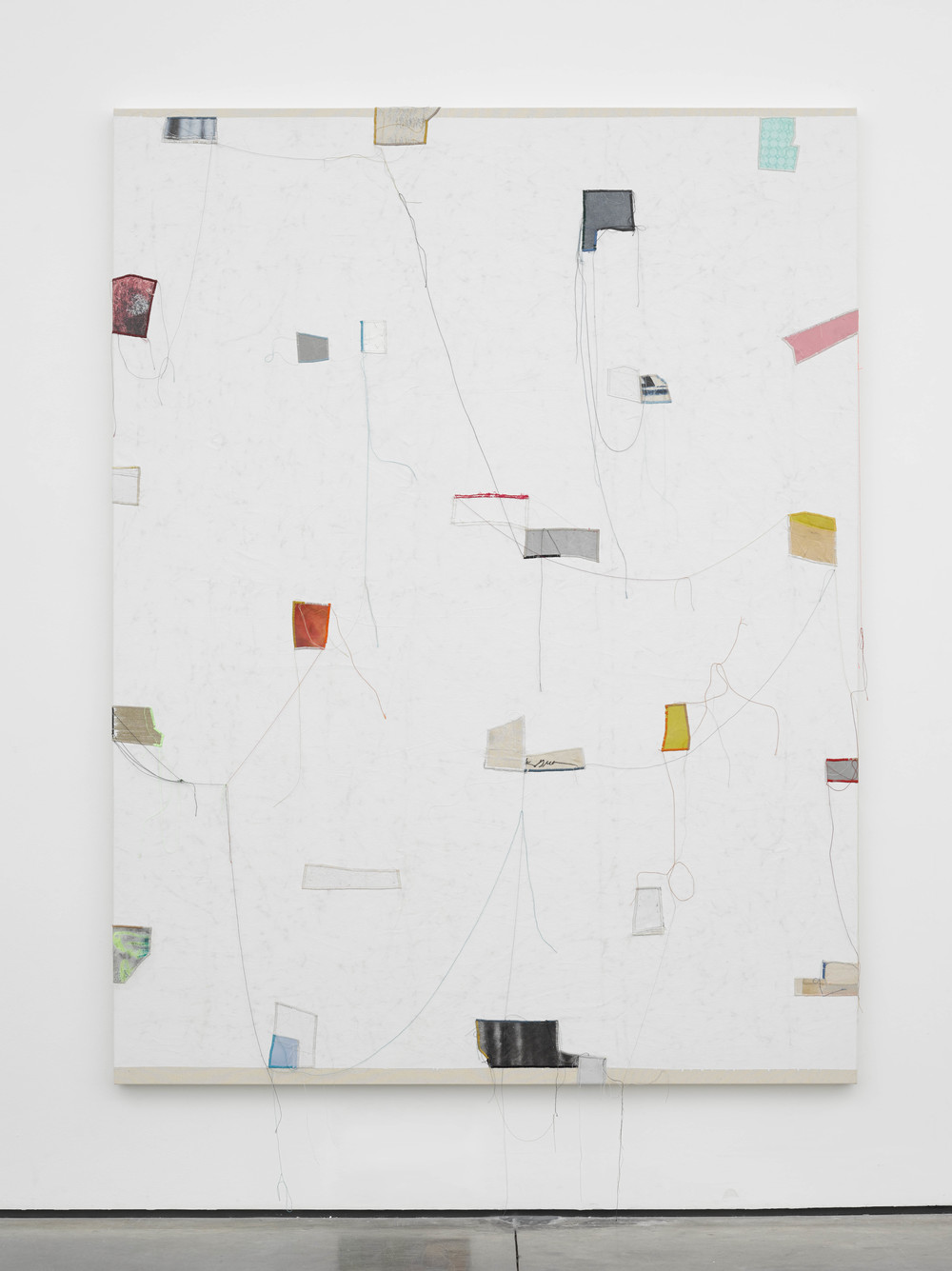 Finding Order: 9, 2014 Canvas, thread, enamel and latex 84 x 64 inches