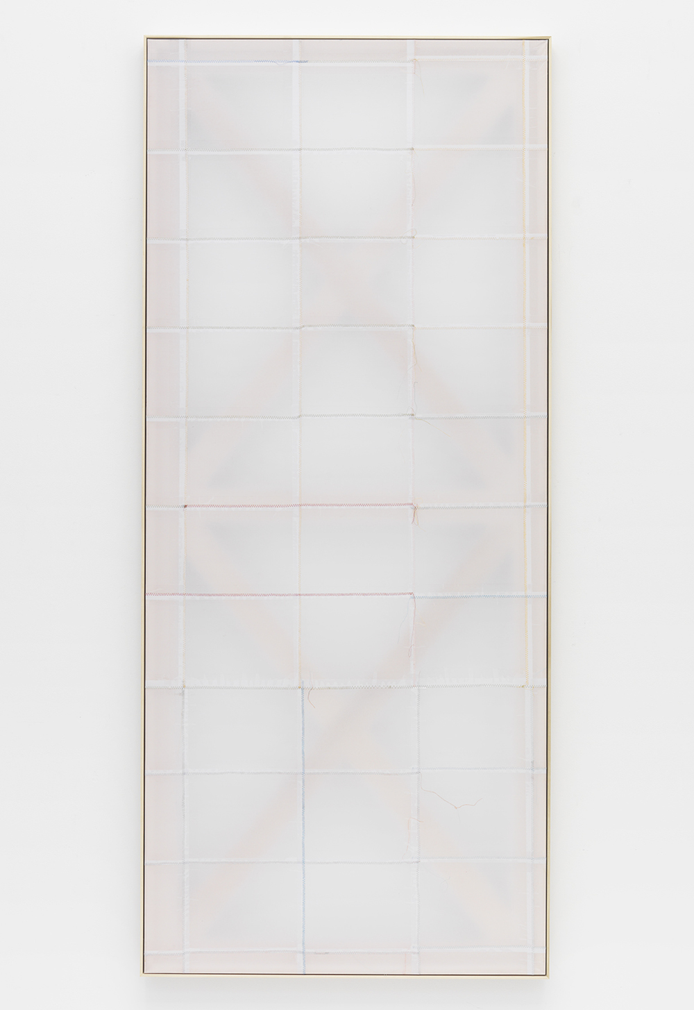 84 x 36 Ushering Spring 2, 2014 Paper, tape and thread on wooden stretcher 84 x 36 inches