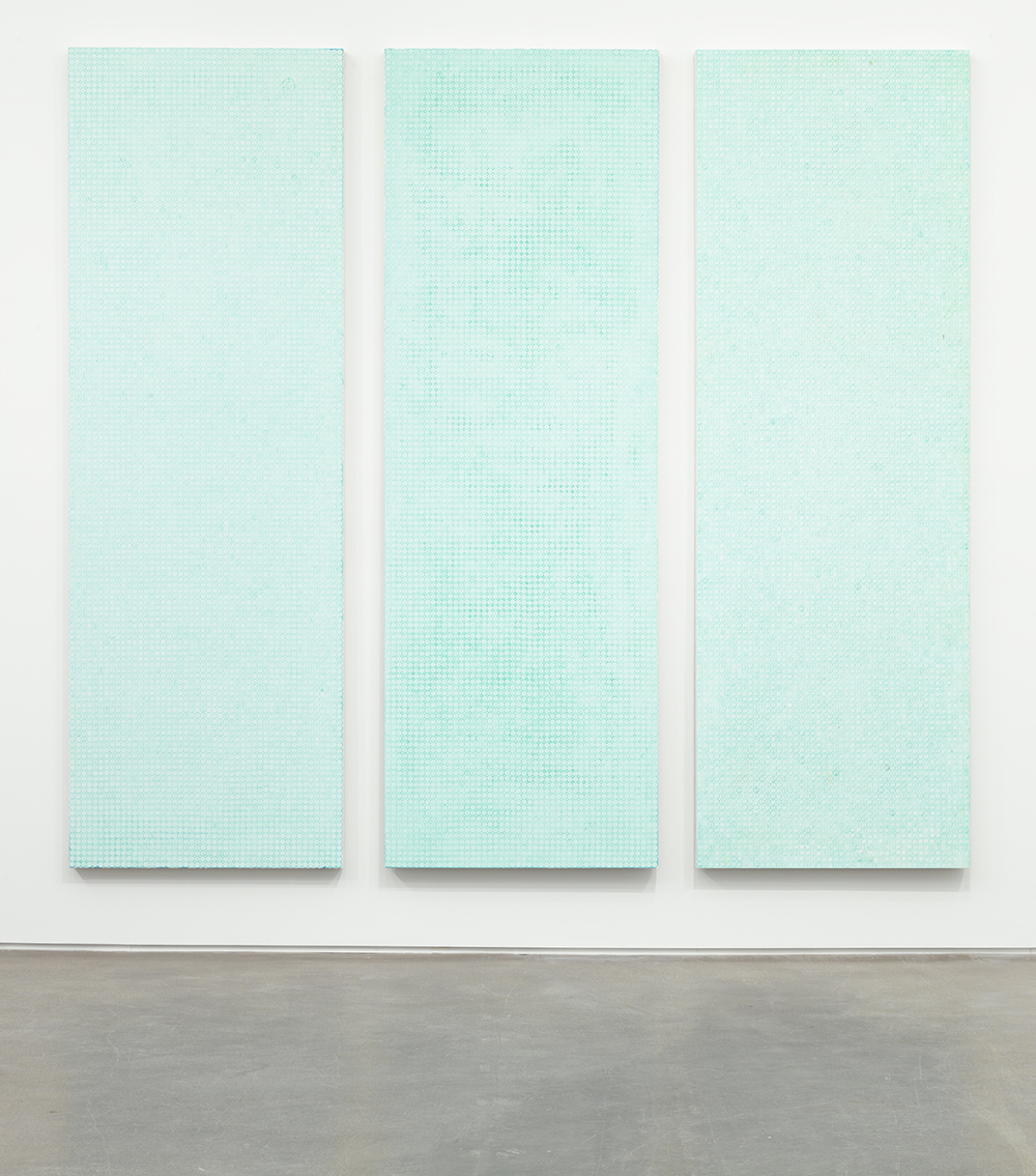 This, That and The Other, 2012 Oxidized copper on canvas 108 x 36 inches each