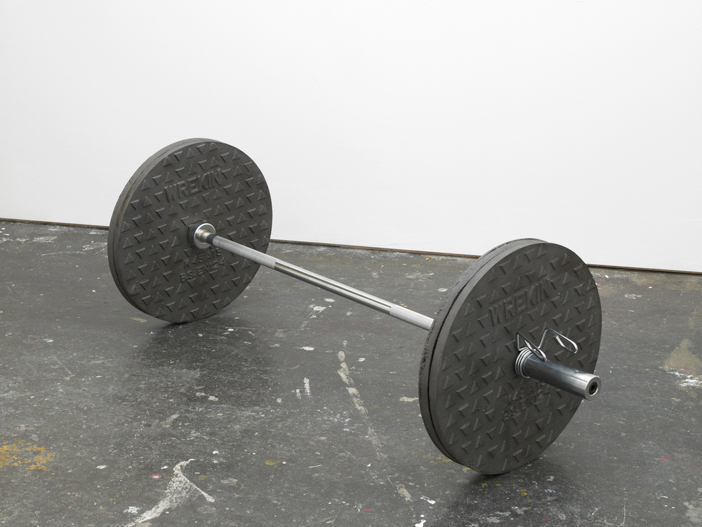 Wreckin' Cru, 2012 Cast iron manhole covers, stainless steel bar and metal fittings 19.5 x 19.5 x 60 inches