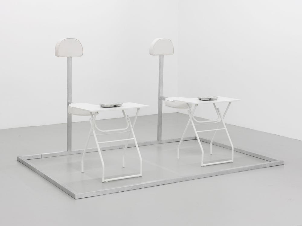 Movie and Dinner For Two (groupon), 2015 Aluminum, leather, foam, stainless steel, rubber, wood and resin 53 x 92 x 60 inches
