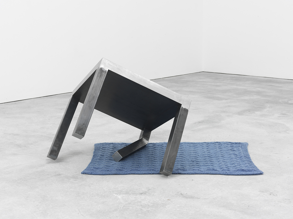 Dylan Lynch Bent Leg, 2015 Merino wool and steel 24.75 x 46.5 x 33 inches