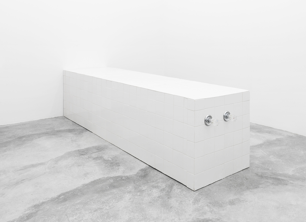 Dylan Lynch Comes Out in the Wash, 2015 Wood, hardware, Wonderboard, tile, mortar and grout 24 x 100.5 x 34 inches
