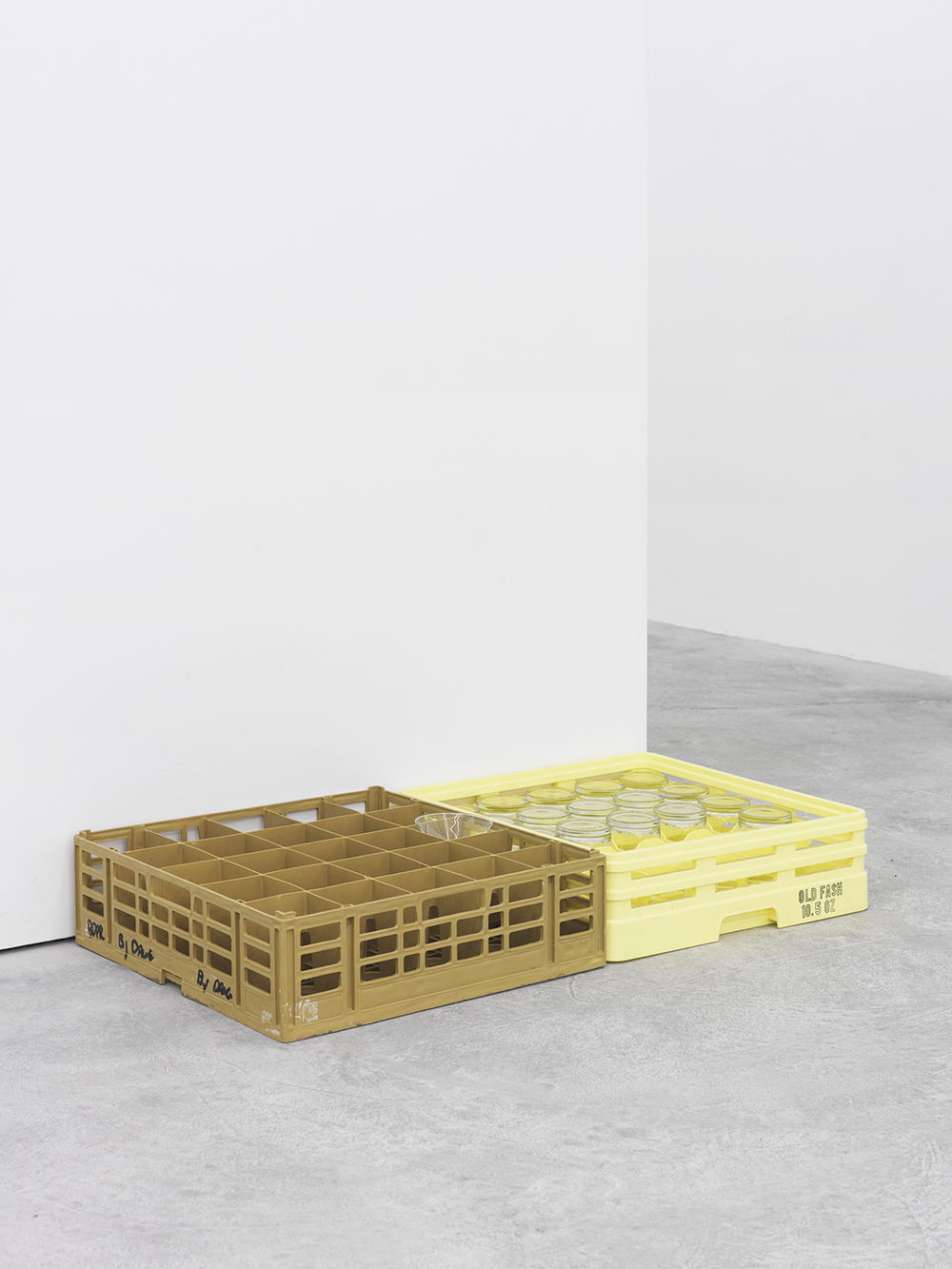 untitled crate stack, 2015 Event hire crates and glasses Dimensions variable