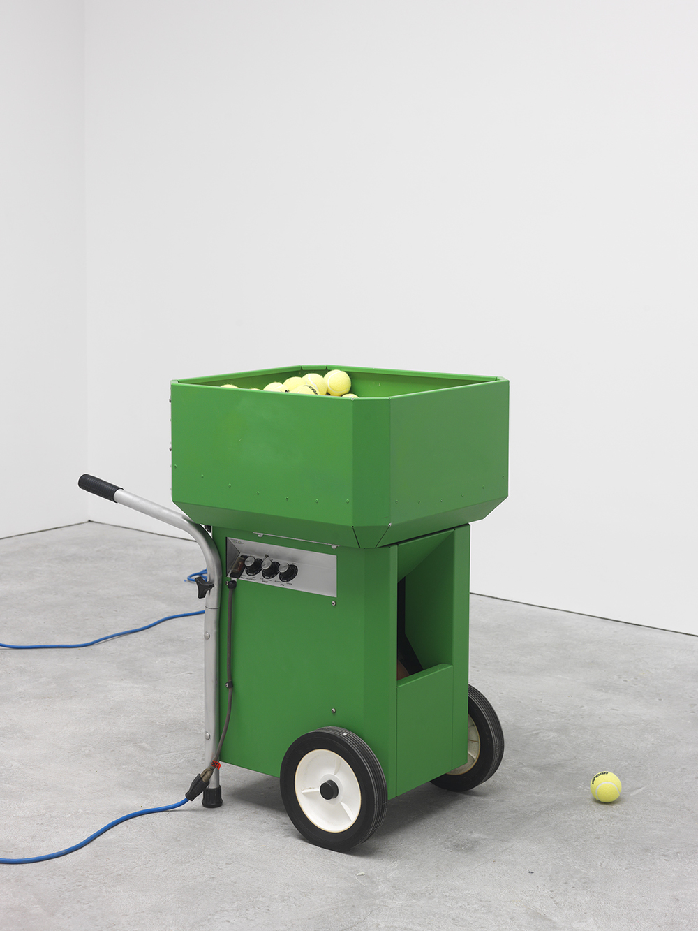 Chant, 2015 Tennis ball machine, tennis balls and man Dimensions variable