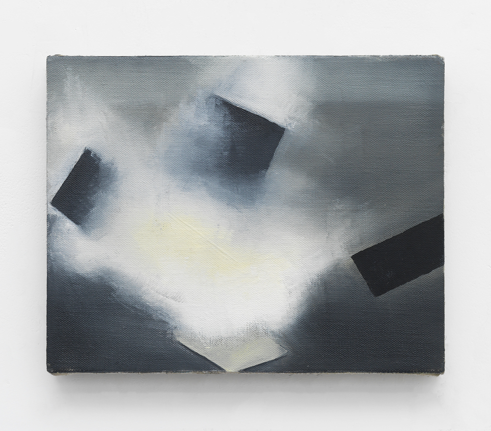 Roman Signer explosion artist, 2015 Oil on linen 8 x 10 inches