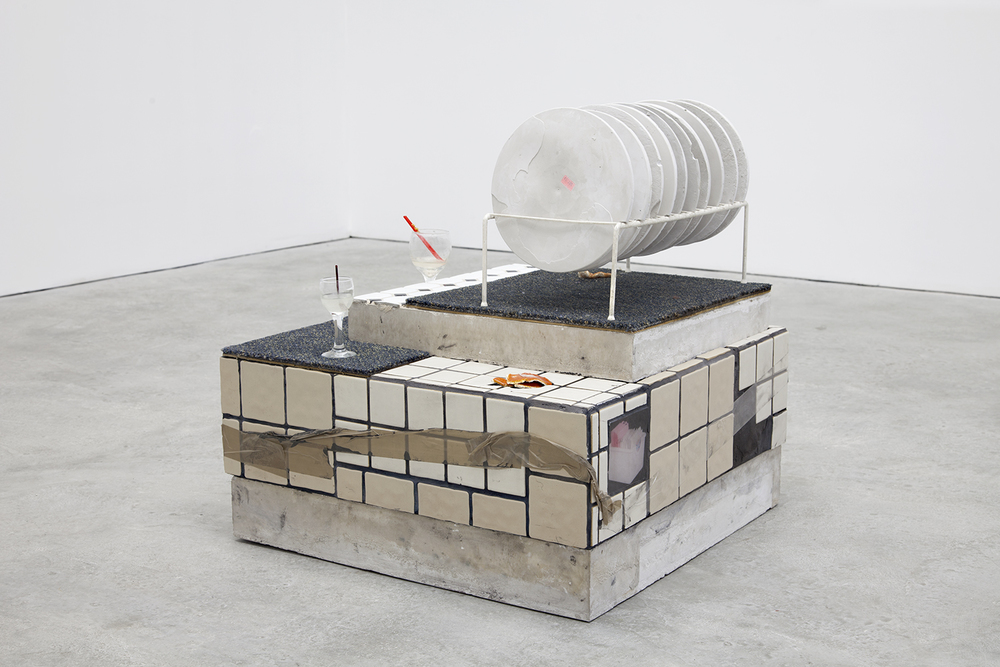 Libby Rothfeld  Jester's Conference and The Gamestation , 2016 Tile, cement, dish rack, resin, carpet, orange peels and glasses 25.5 x 26 x 26 inches