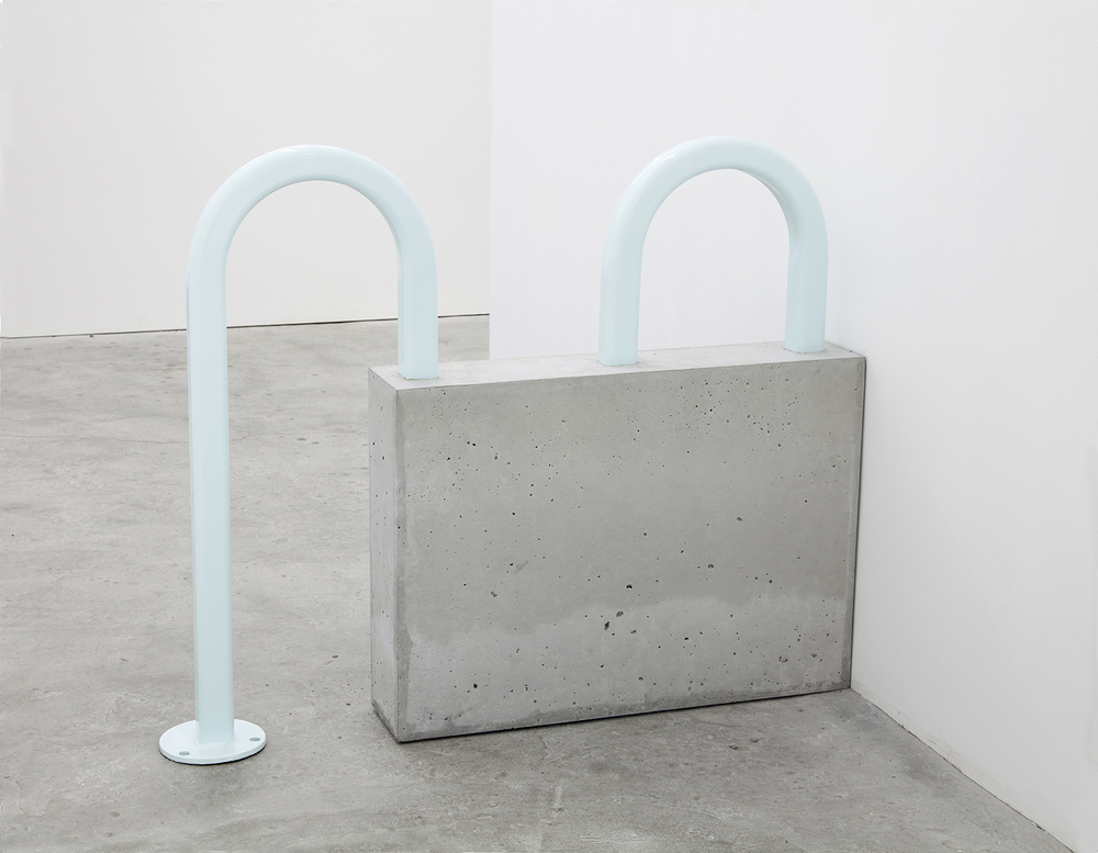 Dylan Lynch  Untitled , 2016 Concrete, powder coated bike rack 44 x 6 x 33.5 inches