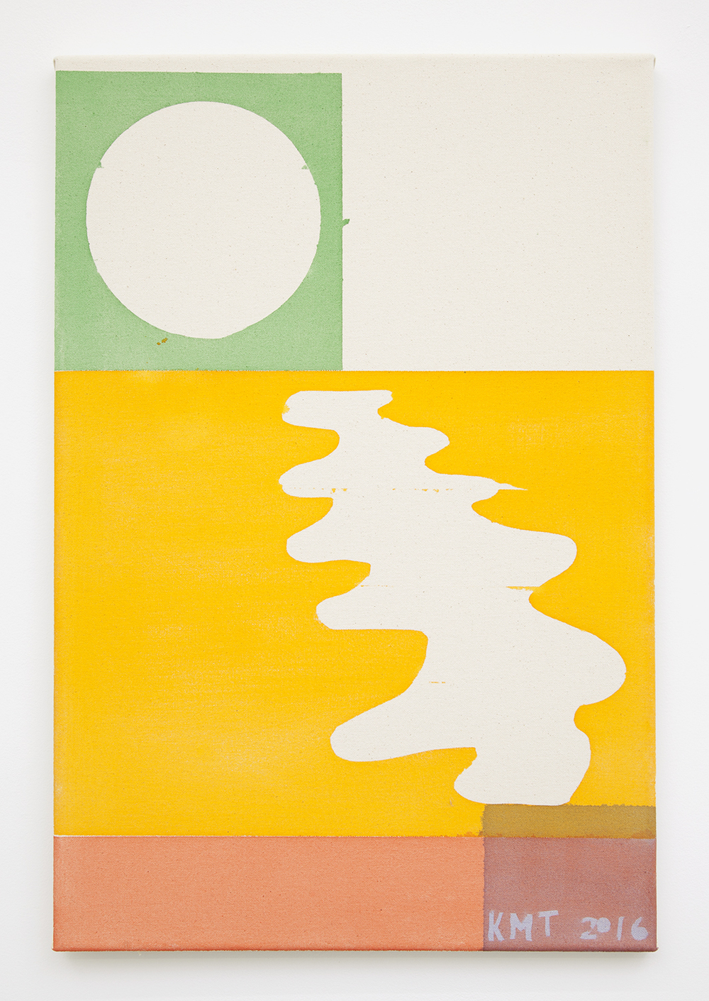 Kevin McNamee-Tweed  Green Sun Yellow Water Red Land , 2016 Pigment on raw canvas 22 x 16 inches